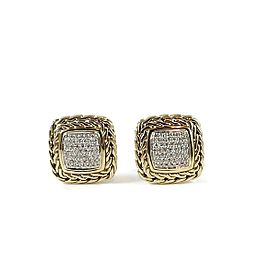 John Hardy 18K Yellow Gold 0.53ct. Diamond Classic Chain Medium Square Earrings