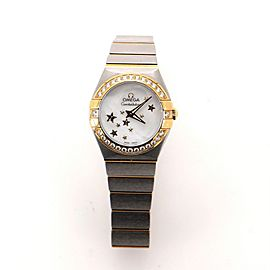 Omega Constellation Orbis Star Quartz Watch Stainless Steel and Yellow Gold with Diamond Bezel and Mother-of-Pearl 24