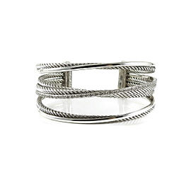 David Yurman Crossover Cuff 925 Sterling Sterling Silver 14K White Gold .65ctw Diamond Bracelet