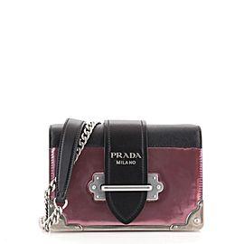 Prada Cahier Chain Crossbody Bag Metallic Leather and Saffiano Small