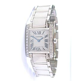 Cartier 18Kt Tank Francaise Diamond Bezel Ladies White Gold Watch 2403