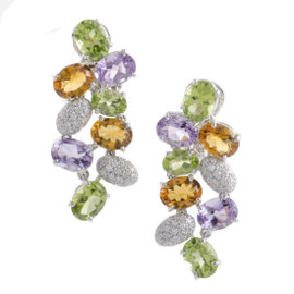 Fred of Paris 18K White Gold Diamond and Multiple Gemstone Drop Earrings
