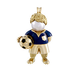 Fred of Paris 18K Yellow Gold Pearl and Enamel Soccer Player Pendant/Brooch