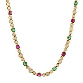 Fred of Paris 18K Yellow Gold with 2.75ct. Diamond, 4.40ct. Emerald and 4.0ct. Ruby Choker Necklace