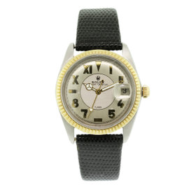 Rolex Tudor 18K Yellow Gold & Stainless Steel / Leather 34mm Vintage Mens Watch