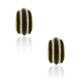 David Webb 18K Yellow Gold Onyx Earrings
