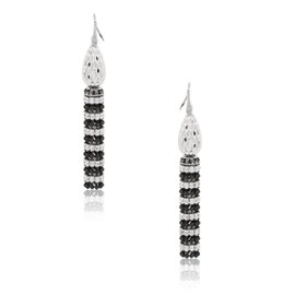 Officina Bernardi Sterling Silver with Platinum Overlay and Black Rhodium Tassel Earrings