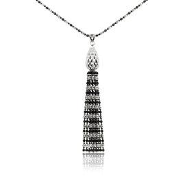 Officina Bernardi Sterling Silver With Platinum Overlay and Black Rhodium Tassel Necklace