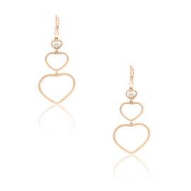 Chopard 18K Rose Gold Diamond Hearts Dangle Earrings