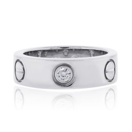 Cartier Love 18K White Gold & 3 Diamond Ring Size 4.5