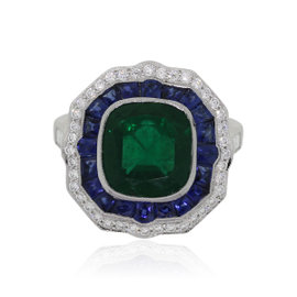 Platinum 3.33ct Cushion Cut Emerald Diamond Sapphire Ring Size 6.5