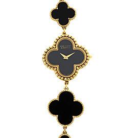 Van Cleef & Arpels Alhambra 18k Yellow Gold and Onyx Ladies Watch