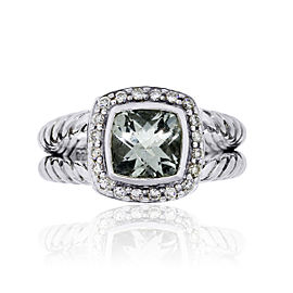 David Yurman Sterling Silver 0.17ctw Diamond and Prasiolite Albion Ring Size 5.5