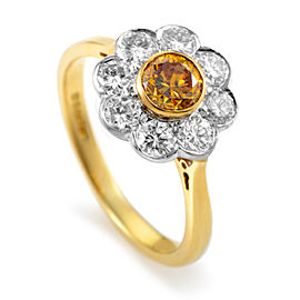 Garrard 18K Multi-Tone Gold Orange & White Diamond Flower Ring