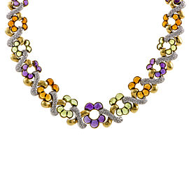 Garrard 18K Yellow Gold and White Gold Diamond and Cabochons Necklace
