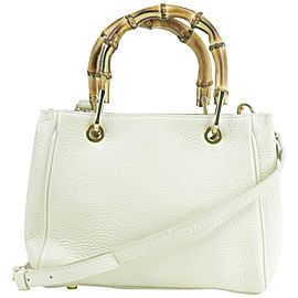 Gianni Notaro Crossbody 232380 Bamboo 2way Tote White-ivory Leather Shoulder Bag