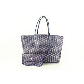 Goyard Blue Chevron St Louis PM Tote Bag with Pouch 359gy525