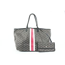 Goyard Black Chevron St Louis PM Tote Bag with Pouch 771gy41