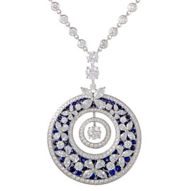 18K White Gold Diamond and Sapphire Butterfly Pendant Necklace
