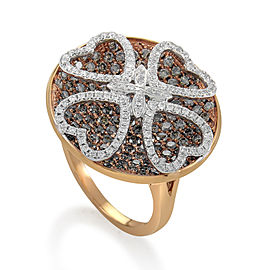 Gregg Ruth 18K Rose Gold Multi-Diamond Clover Ring