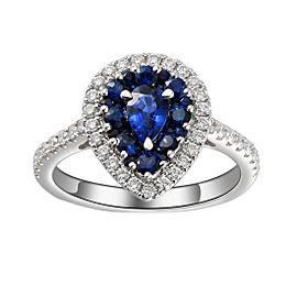 Greg Ruth 18K White Gold Sapphire & Diamond Ring Size 6.5