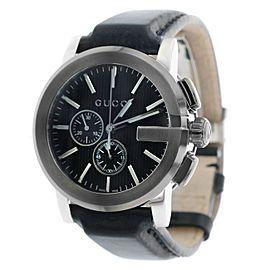 G-Chrono Black Dial Black Leather Men's Watch