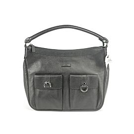 Gucci 22gk1220 D-ring Pocket Black Leather Hobo Bag