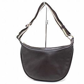 Gucci Hobo Dark Strap 869676 Brown Leather Messenger Bag