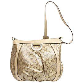 Gucci Abbey D-ring Monogram 872464 Gold Pvc Gg Crystal Cross Body Bag