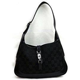 Gucci Bag Bardot Jackie Hobo Monogram 872394 Black Gg Canvas Satchel