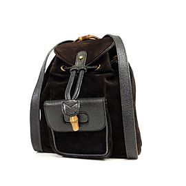 Gucci Bamboo 232896 Black Suede Leather Backpack