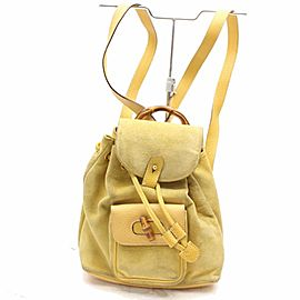 Gucci Bamboo 867509 Yellow Suede Leather Backpack