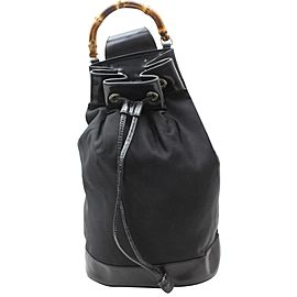 Gucci Backpack Bucket Bamboo Drawstring Sling 869292 Black Nylon Shoulder Bag