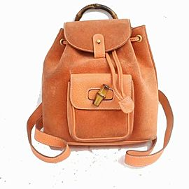 Gucci Orange Suede Bamboo Mini Backpack 871719