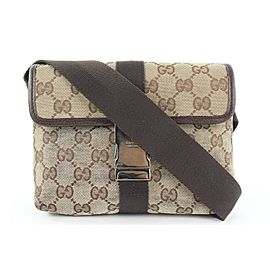 Gucci Brown Monogram GG Waist Pouch Fanny Pack Belt bag 951gks416