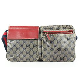 Gucci Crystal GG Navy x Red Belt bag Fanny Pack Waist Pouch 557ggs311