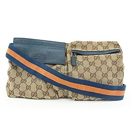 Gucci Rare Navy x Orange Belt Bag Waist Pouch Fanny Pack 764gzs330