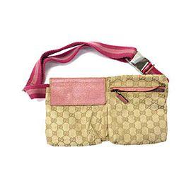 Gucci Belt (Ultra Rare) Monogram Fanny Pack Waist Pouch 233113 Pink Gg Canvas Cross Body Bag