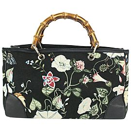 Gucci Black Flora Bamboo Hand Tote Floral Flower 830gk29