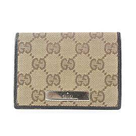 Gucci Brown Monogram GG Card Holder Wallet case 2gg525