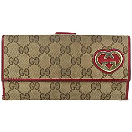 Gucci Brown x Red Monogram GG Lovely Heart Long Wallet 824gk56