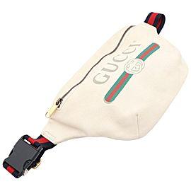 Gucci White Leather Web Waist Pack Belt Pouch Bum Bag 8611624
