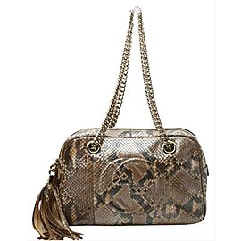 Gucci Python Fringe Tassle Soho Camera Boston Chain Bag 860875