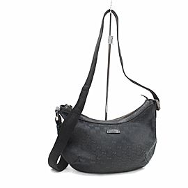 Gucci Croissant Monogram Half Moon 869623 Black Canvas Cross Body Bag