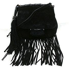 Gucci Black Suede Medium Nouveau Fringe Flap Bag 862882