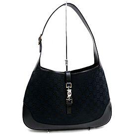Gucci Jackie Hobo Jackie-o Monogram 872553 Black Gg Canvas Shoulder Bag