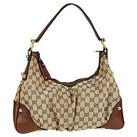 Gucci Jockey Monogram Gg 4ga515 Brown Canvas Hobo Bag