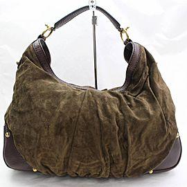 Gucci Hobo Large Jockey 868202 Brown Suede Leather Shoulder Bag