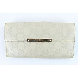 Gucci Ivory Guccissima Leather Bifold Flap Long Wallet 130gks429