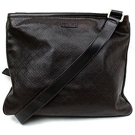 Gucci Messenger 872116 Diamante Dark Brown Leather Cross Body Bag